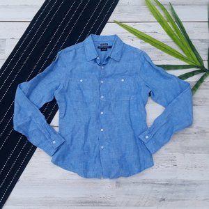 Island Company| Blue 100% Linen Classic Shirt S